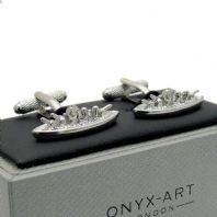 Battleship Novelty Cufflinks by Onyx-Art Gift Boxed  CK1003